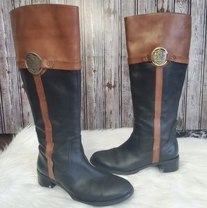 Etienne Aigner leather two tone cingston boots